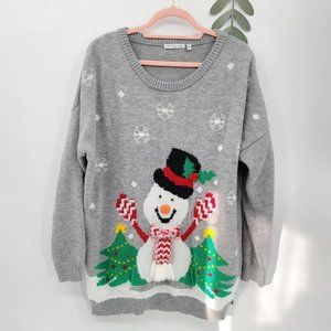 Notations Cute Snowman w/scarf Christmass Sweater